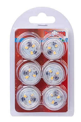 Hellum LED Tee-Licht superhell unterwasser Beleuchtung für Pool, Aquarium, Teich oder Garten, LED warmweiß mit Fernbedienung, Batterie-Betrieb mit langer Leuchtdauer, 6 LED Teelichter, 523072