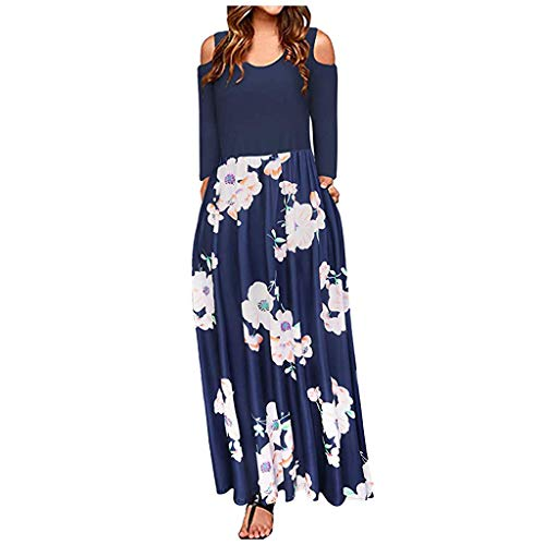 Dresses for women,KpopBaby Women' Cold Shoulder Pocket Floral Print Elegant Maxi Short Sleeve Casual Dress Elegant Cocktail Maxi Dress Deep V Neck 34