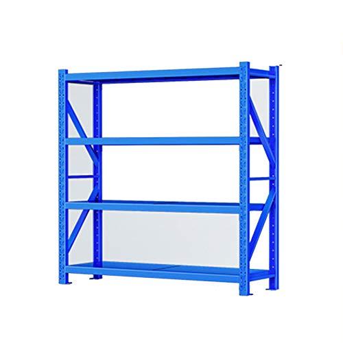 Estantes RENJUN- Almacenaje Baldas Diseño De Ranuras Cóncavo-convexas En Vigas Y Mariposas En Columnas Altura del Suelo Ajustable 200 Kg/Capa 6 Tamaños A Elegir Azul (Size : 200x60x200cm)