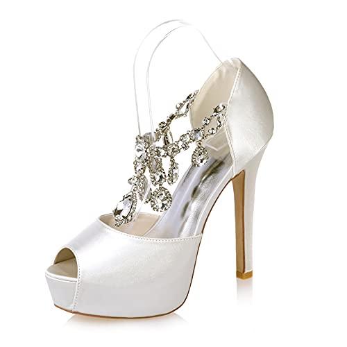 LGYKUMEG Damen Plateau Pumps,Elegante Iron Fist Schuhe,Brautschuhe Damen Seide Wie Satin Stiletto,Hochzeitsschuhe Brautschuhe,08,37