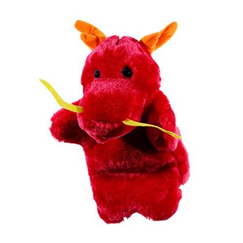TOYANDONA Marioneta de Mano Dragón Chino Juguete de Peluche Contar Marionetas Juegos de rol Accesorios para Muñecas Fiesta de Cumpleaños Favor Suministros 27 Cm