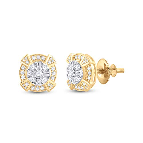 Diamond2Deal Pendientes de oro amarillo de 14 quilates para hombre con diamante Baguette de 3/4 quilates