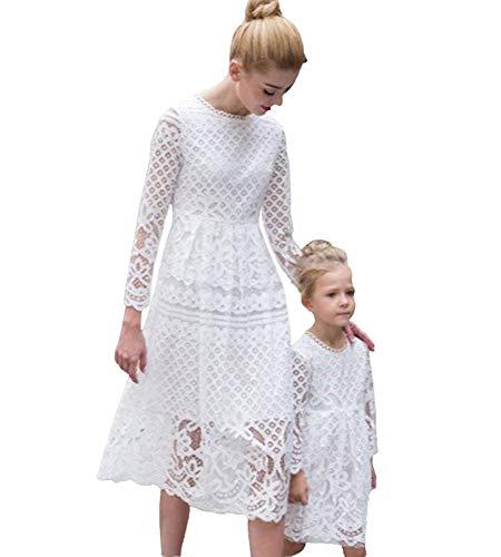 Minetom Kleid Mutter Und Tochter Atmungsaktiv Beiläufig Langarm Knielang Mode Spitze Hohl Kleid Beiläufige Familie Kleidung Mädchen (DE 38 (Mutter), Weiß)