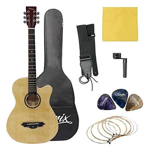 Henrix PRO 38 Inch 6 String Cutaway Acoustic Guitar-Natural