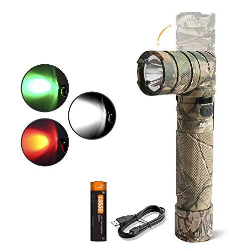 NICRON Taschenlampe LED USB Aufladbare, 90 Grad Drehbar Kopf, 950 Lumen Extrem Hell, Weiß Rotlicht Grün Licht, IP65 Wasserdicht für Outdoor Jagd mit Magnet, 18650 Batterie B70P
