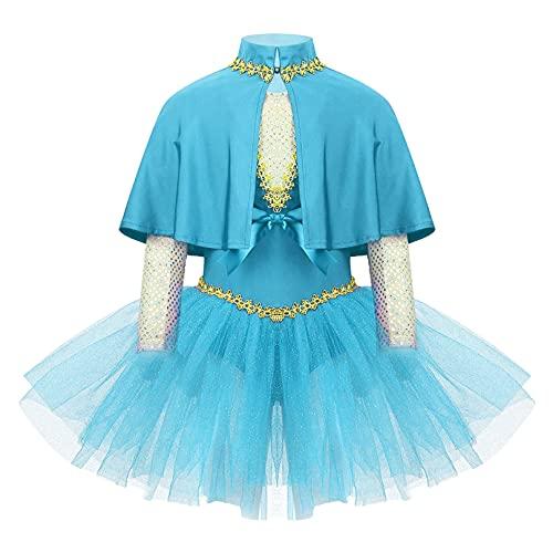 MSemis Vestido de Danza Ballet para Niña Disfraz de Maestra de Fiesta Halloween Carnaval Vestido Princesa de Patinaje Artistico Ropa de Baile Niña Azul 14 años