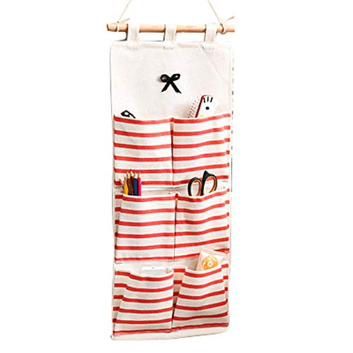 Eamoney Hanging Storage Bag Stripe Multi-Mounted Living Room Bathroom Wall Door Closet Hanging Bag Organizer for Phone Keys 1#
