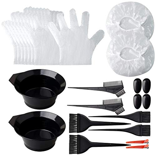 Pengxiaomei Hair Dye Coloring Kit, 26pcs Hair Dyeing DIY Tool At Home Hair Dye Kit,Hair Tinting Bowl Dye Brush Disposable Gloves Cape Ear Cover for Salon and Home Use Hair Coloring