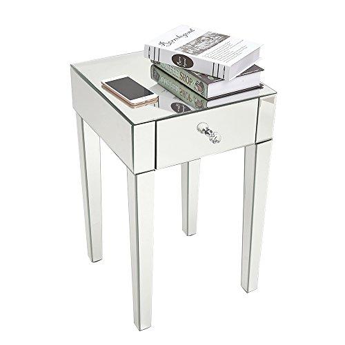 Yulie - Mesita de noche con espejo de cristal con 1 cajón, mueble de almacenamiento para salón, dormitorio, oficina, 40 x 40 x 65 cm