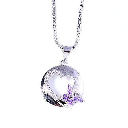 Ai.Moichien Collar De Mujer Cadena Mariposa Corazón Diamantes De Imitación Clavícula Joyería Bohemia Joyería Regalos