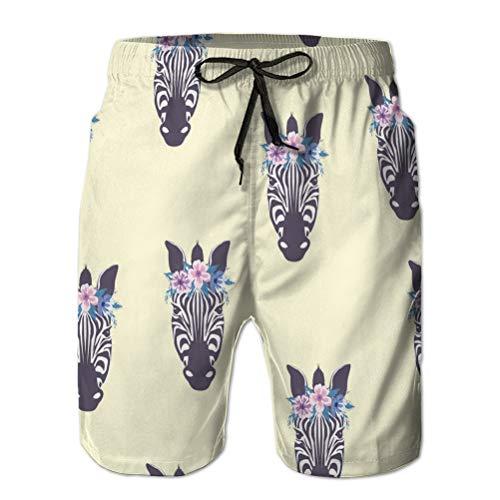 Shorts de Playa de baño de Secado rápido para Hombre con Estampado de Cebra Animal