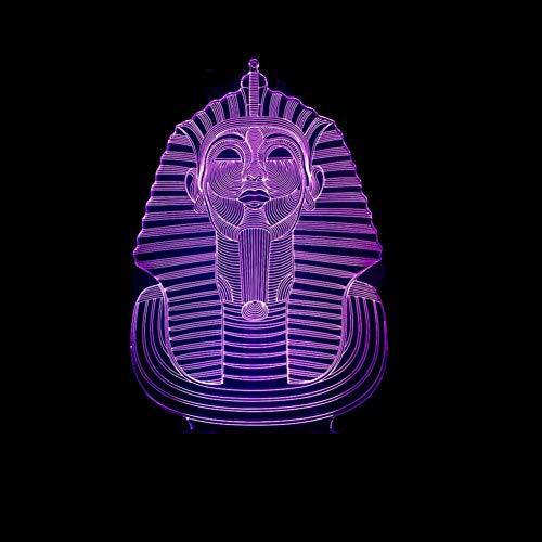 LIkaxyd LED 3D-nachtlampje, optische illusielamp 7 kleuren veranderen, Touch USB & batterij-aangedreven speelgoed decoratieve lamp, beste cadeau voor kinderen-Egyptische farao