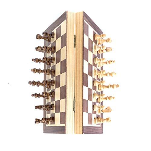 Schachspiel Holz Magnetisch, Klappbar Schachbrett Pädagogische mit Magnetischem, Deluxe Schach Portable Klappbrett Design für Kinder und Erwachsene, Familie Reisen,integriertem Speicher (40*40CM)