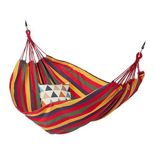 Relaxdays Hängematte, XXL, Hängeliege 2 Personen, bis 300 kg, tragbar, In-& Outdoor, Baumwolle, 150 x 272 cm, bunt, Gelb/Grün/Blau/Rot