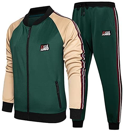 WINKEEY traje de jogging para hombre traje deportivo traje de ocio chándal traje de ocio sudadera con capucha + pantalones deportivos sudadera con capucha + pantalones de chándal, Verde M