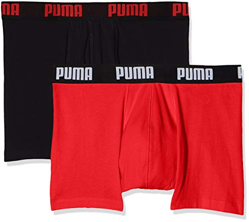Puma Herren  Basic Boxer , 2er Pack, Rouge (Red/Black 786), Large