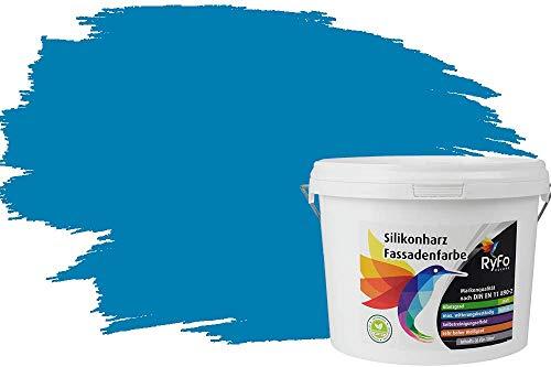 RyFo Colors Silikonharz Fassadenfarbe Lotuseffekt Trend Himmelblau 3l - bunte Fassadenfarbe, weitere Blau Farbtöne und Größen erhältlich, Deckkraft Klasse 1