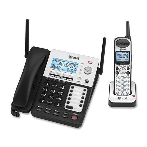 AT&T SynJ SB67138 DECT Cordless Phone - Silver - Cordless - 4 x Phone Line - Speakerphone - Answering Machine - Caller ID - Backlight