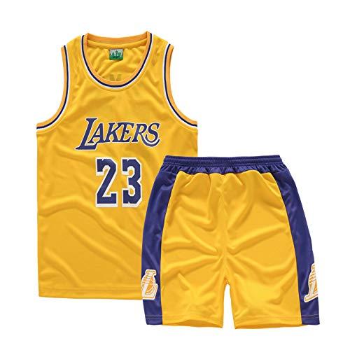 OKMJ James - Conjunto de camiseta de baloncesto para niños, ropa Lakers de malla de sarga deportiva para correr, traje de 2 piezas, camiseta sin mangas + pantalones cortos. #23-XS