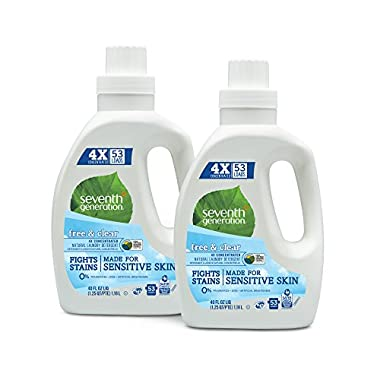 Seventh Generation Natural 4X Concentrated Laundry Detergent Free and Clear Unscented, 106 loads, 40 Fl Oz (Pack of 2)
