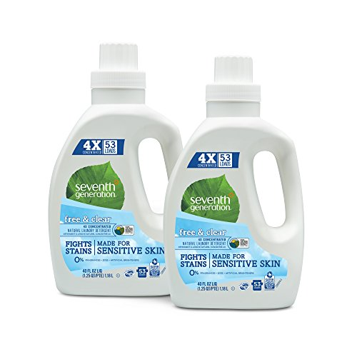 Seventh Generation Concentrated Laundry Detergent Free amp Clear Unscented 40 Oz Pack of 2 106 Loads