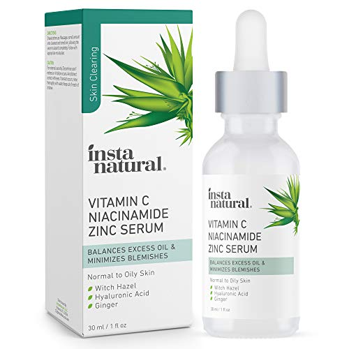 Mattifying Facial Serum for Oily Skin - Pore Minimizing Oil Control Skin Treatment Vitamin C Serum with Zinc, Niacinamide and Hyaluronic Acid Blemish Remover & Breakout Reducing Skin Care 1 fl oz