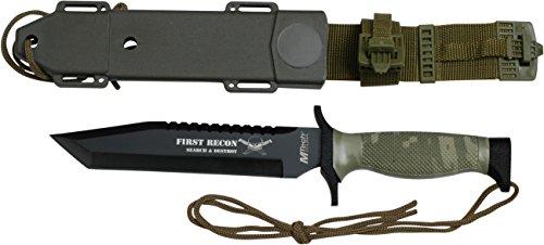 MTech USA Outdoormesser MT-676 Serie, Messer KOMBI Griff CAMO, scharfes Jagdmesser, Taschenmesser 15,24 cm ROSTFREI Klinge Feststehend Halbgezahnt, Überlebensmesser für Angeln/ Jagd