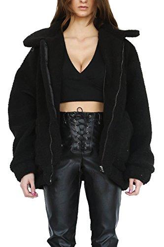 kooosin Fluffy Women Coats Faux Wool Blend Warm Winter Jacket Zip Up Long Sleeve Oversized Fashion Outerwear(070-B-XXL) Black