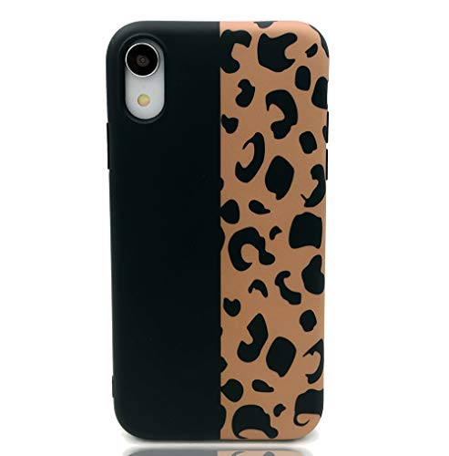 HUIYCUU Case Compatible with iPhone XR Case, Brown Design Slim Fit Soft TPU Leopard Print Pattern Shockproof Thin Protective Girl Women Floral Bumper Back Cover for iPhone Xr, Black