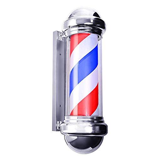 XCJJ Traditionnel 29 'Led Barber Pole, Red White Blue Rotating Light Stripes Sign Hair Salon, étanche, intérieur et extérieur, montage mural,rouge,75 cm * 30 cm