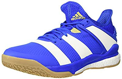adidas Men's Stabil X Volleyball Shoe, Blue/Off White/Gold Metallic, 4 M US