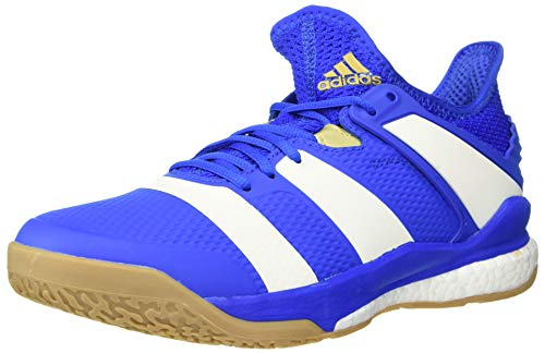 adidas Men's Stabil X Volleyball Shoe, Blue/Off White/Gold Metallic, 9 M US