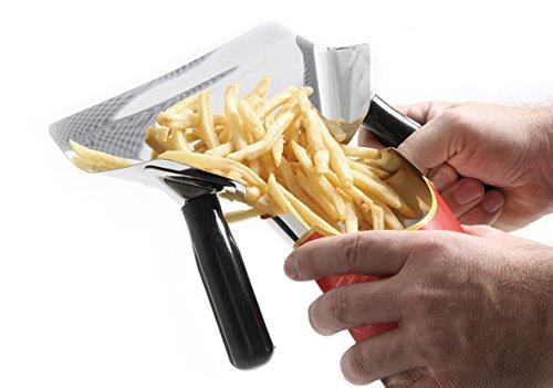 HENDI Pommesschaufel, mit abnehmbaren Griffen, Einfüllöffnung 75mm, geeignet für Links- und Rechtshänder, 230x200mm, Edelstahl