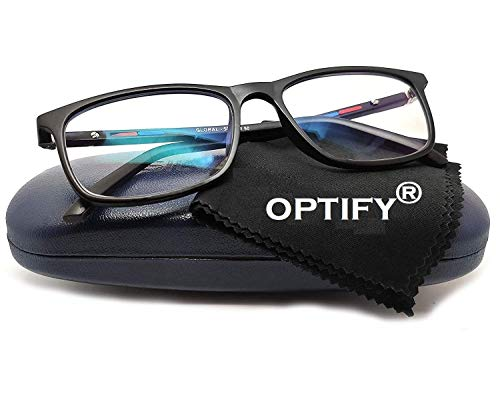 Optify® Blue Cut Zero Power Spectacles with Anti-glare UV by Computer Tablet Laptop Mobile (Unisex)