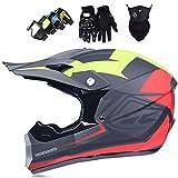 Casco de motocross cross, casco protector de descenso con gafas/guantes/máscara, casco integral de motocicleta MTB para hombres y mujeres, gris mate