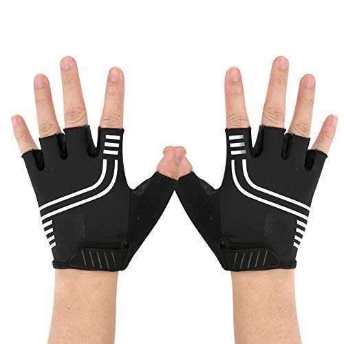 Cycling Glove PU Leather,1 Pair Outdoor Reflective Breathable Half Finger Cycling Gloves Bicycle Gloves for Mountain Bike Fitness Silver + Black XL