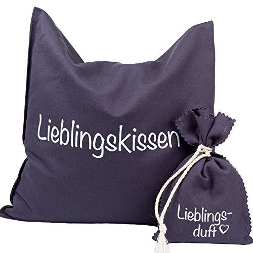 AKTION Wärmekissen Lieblingskissen von HERBALIND Traubenkernkissen - 100% Baumwolle OEKO TEX als Körnerkissen für Bauch, Rücken, Nackenkissen. 24x25 cm in Grau mit Lavendel Duftsäckchen GRATIS