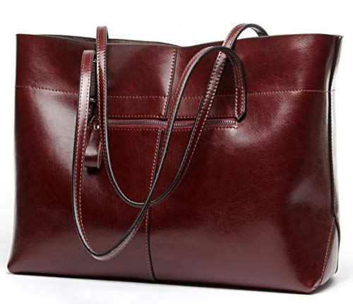 Covelin Women's Handbag Genuine Leather Tote Shoulder Bags Soft Hot Wine red