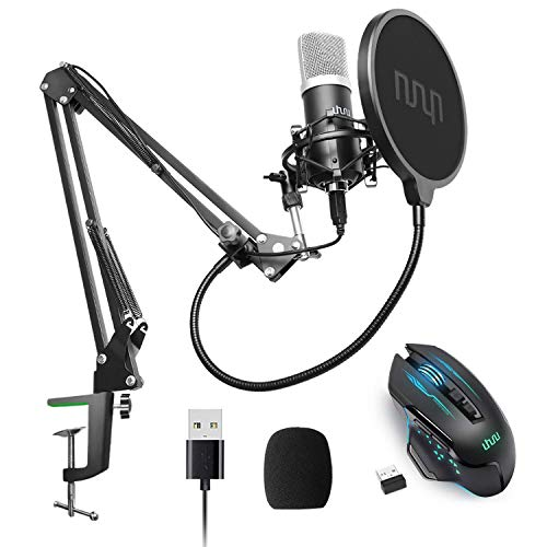 UHURU UM900 USB Microphone with Wireless Gaming Mouse WM-07 Bundle for Podcast, Gaming, Streaming, Recording, Vocal
