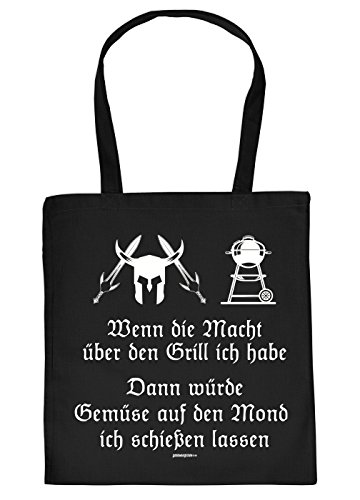Stofftasche mit Grill Motiv - Wenn die Macht ber den Grill ich Habe, dann wrde Gemse. - Einkaufstasche, Geschenk, Umhngetasche - schwarz