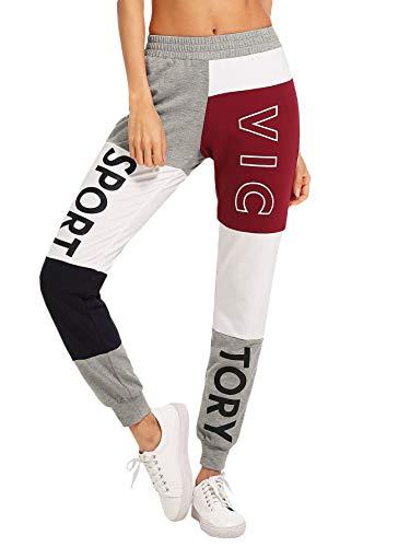DIDK Damen Jogginghose Cut and Sew Sporthosen Sweathose Farbblock mit Elastischer Bund Hosen Casual Pants Sport Weinrot M