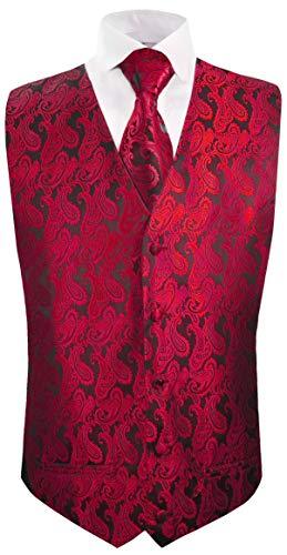 Paul Malone Hochzeitsweste + Krawatte schwarz rot Paisley - Bräutigam Hochzeit Anzug Weste Gr. 58 2XL