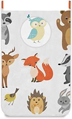 Hanging Laundry Hamper Cute Woodland Animals Pattern Door Laundry Hamper Bag Big Capacity Storage product image