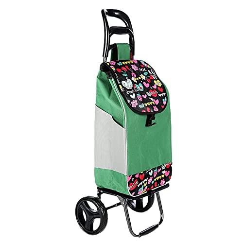 Carritos de la compra Carro de la compra plegable de la carretilla de compras de 2 ruedas ligeras, carrito de equipos de equipos multifuncionales de gran capacidad con mochila desmontable para anciano