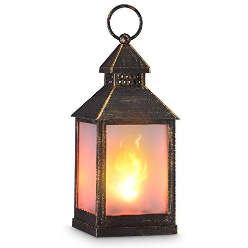 zkee 11' Vintage Style Decorative Lantern,Flame Effect LED Lantern,(Golden Brushed Black,4 Hours Timer) Indoor Lanterns Decorative,Outdoor Hanging Lantern,Decorative Candle Lanterns