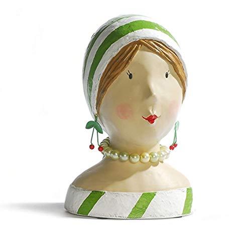 Aufsteller Deko Kopf Frauenkopf Ladykopf mit grünen Streifen Büste Figur