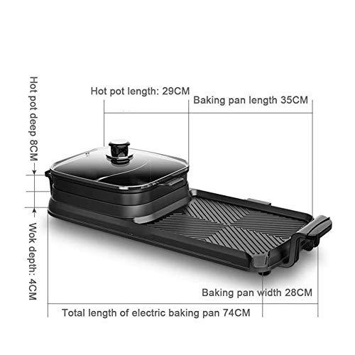41DWvjN7fjL - KOIUJ Maifan Stein Smokeless Antihaft-Roasted Shabu Shabu, 2200W Doppeltemperaturregelung Elektro Baking Pan Elektrogrill