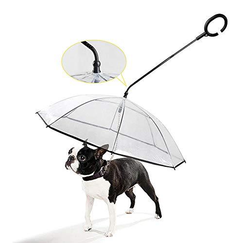 TOHHOT C-förmiger Teleskopgriff transparent Haustier Regenschirm mit Hundeleine