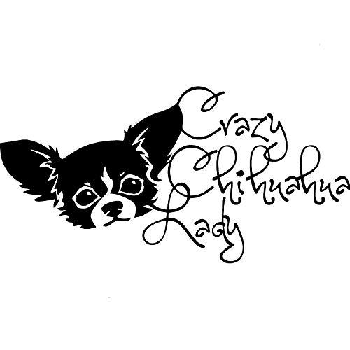 FreshZHY 2 Piezas, 19x9.6CMCar Styling Art Decal, Crazy Chihuahua Lady Dog Black Impermeable con Reflectante para la Etiqueta de la Ventana del Coche