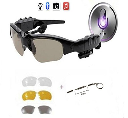 PHEVOS Wireless Bluetooth Sunglasses Headset Headphones Polaroid polarized lenses For iPhone Samsung HTC Nokia?SONY,Smart Phones or PC Tablets+3 pair lens(Yellow,Gray,Clear)